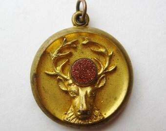 Antique Gold Filled BPOE Elks Lodge Member Pocket Watch Fob Locket Pendant