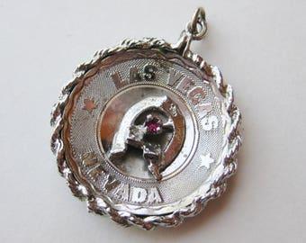 Large Vintage Charm Sterling Silver Viva Las Vegas Nevada Lucky Souvenir Bracelet Charm