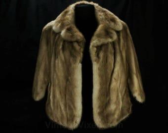 Mink Fur Stole - Small 1950s 60s Genuine Fur Cape - Posh Mid Century Glamour - Amber Brown Similar to Autumn Haze - Pretty Capelet - 48643