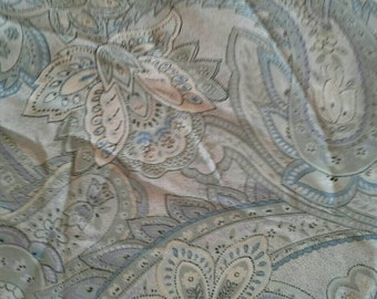 Light Blue and Grey Paisley Type Print Polyester Fabric 1 1/2 Yards X0707