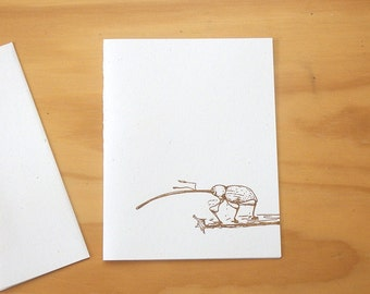 "Blank card - Hand Printed-  ""weevil"" - Frost colour - Small"