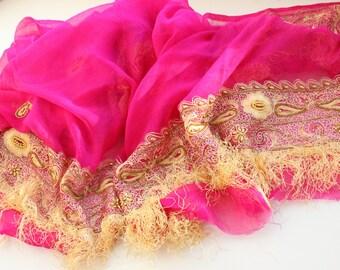 Fuchsia pure silk Indian vintage long dupatta scarf