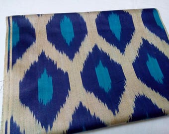 Uzbek traditional woven cotton ikat fabric by meter. F018