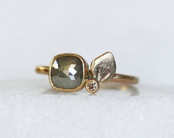 Rose Cut Diamond Ring - Squarish Diamond Petal Engagement Ring - Eco-Friendly Recycled Gold