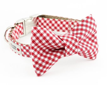 Red Gingham Bowtie Dog Collar