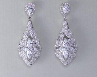 Bridal Chandelier Earrings, Vintage Crystal Earrings, Silver Crystal Bridal Earrings, Crystal Wedding Earrings,  VERA