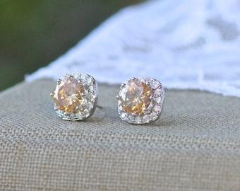 Champagne Crystal Stud Earrings, Blush Crystal Bridal Earrings, Champagne Bridesmaids Stud Earrings, RIKKI  CH