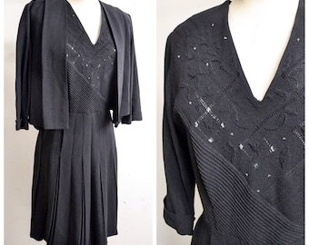 1940s Black crepe beaded dress & jacket set / 40s pleated evening dress suit - L