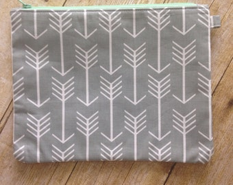 Large Zipper Pouch - Grey Gray Arrow Fabric - Zippered Clutch - Large Wristlet - Large Pencil Pouch