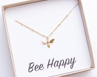Gold Bee Necklace, Tiny Gold Bee Necklace, Honey Bee Necklace, Bee Jewelry, Bumble Bee Necklace, Birthday Gift, Fashion Jewelry