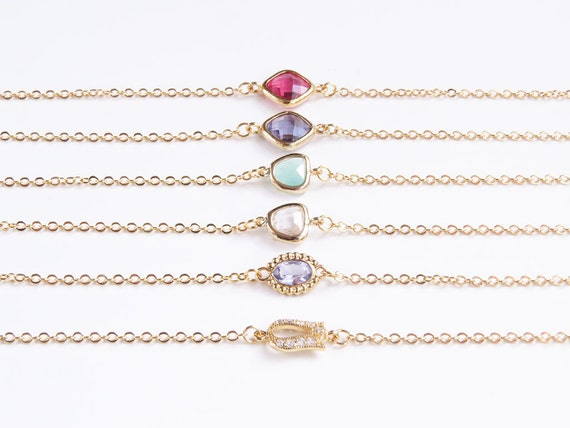 Gold Personalized Bracelet | Personalized Bridesmaid Gold Initial Bracelet | Birthstone Bracelet | Gifts for Her | Christmas Gifts