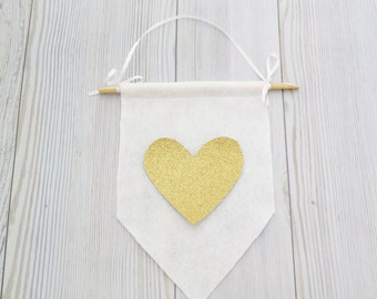 Felt flag , wall hanging , heart banner , valentines day decor , valentines day gift , gold flags