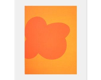 minimalist orange abstract, hard edged screenprint, modern original art by Emma Lawrenson