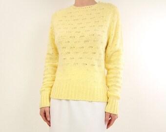 VINTAGE Yellow Sweater 1980s Lemon Pointelle Knit