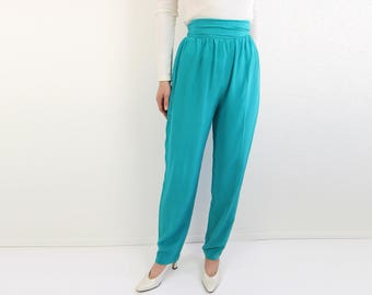 VINTAGE Silk Pants High Waist Teal 1980s