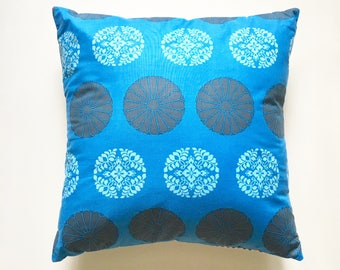 "cobalt blue decorative throw pillow cover, 18"" x 18"", reversible, home decor, designer fabric"