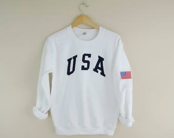 New Retro USA White & Navy Crewneck Sweatshirt with American Flag Patch // Size S-3XL