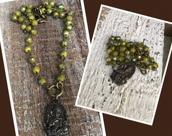 Boho rustic yoga layering necklace Rustic Ganesha pendant remover of obstacles handcrafted Avocado green flash crystal beaded chain
