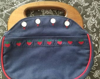 Vintage Navy Blue Canvas Bermuda Bag Purse with Strawberry Trim Red Accents and Wooden Handles 1960s 1970s Buttons
