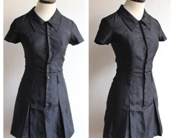 VTG 90s Does 60s Minimalist Fitted Mini Dress with Pleated Skirt