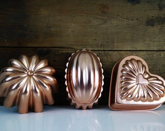 Fluted copper vintage jello molds - set of 3