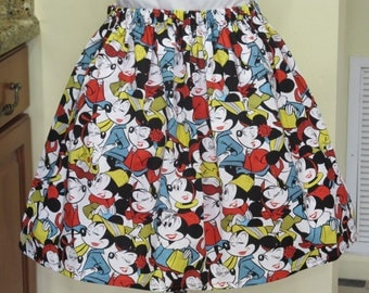 Sale - Minnie Mouse cute print Adult Skirt - Sizes X-Small, Small and Medium Only