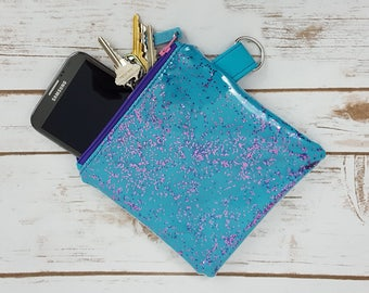 Glitter Zipper Pouch - Teal Pink and Purple