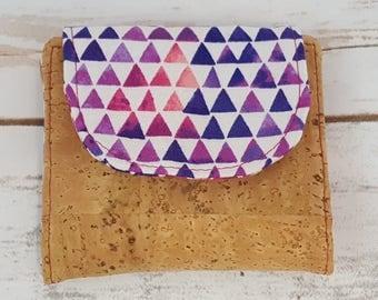 Mini Slimline Wallet - Cork - Triangles - Spots - Purple Watercolor
