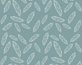 By Popular Demand Feathers in Teal - Half Yard