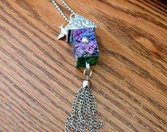 OOAK Birdhouse Necklace, Handmade, Multi-color, from Bluebird Creations, Item #2006