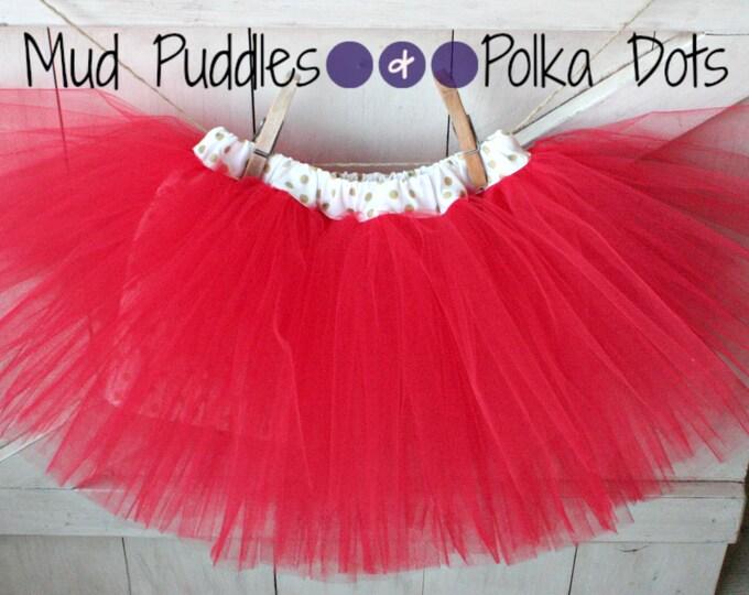Holiday Gold Polka Dot Lined Tutu Skirt - white, baby, infant, girl, christmas, thanksgiving, fall, boutique, birthday, shower, gift, HTT9