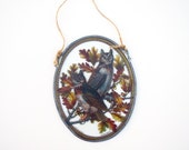 2 owls sun catcher Audubon TM Glassmasters 1980 great horned owl decorative enameling on glass wall hanging collectible Fall Thanksgiving