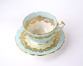 Teacup and saucer Aynsley England bone china pale blue gold cream ornate teacup collectible teacup tea gift for her party housewarming gift
