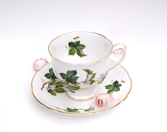 Salisbury teacup and saucer bone china England white green gold vines leaves housewarming gift collectible tea set