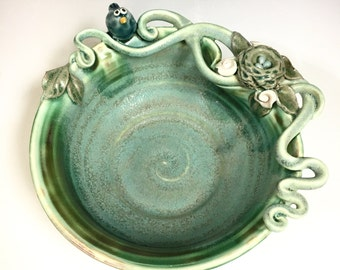 Handmade BIRD and BIRDS NEST Art Pottery Bowl Porcelain