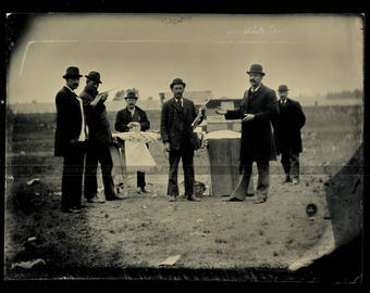 Interesting Antique Tintype - Outdoor Shooting Contest Winner at Carnival ? <><> Offers Considered