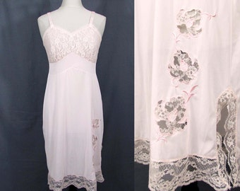 Pink Aristocraft Slip 1960s - nylon and lace - Sz 36