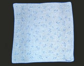 VINTAGE DESIGNER HANKIE Monique Light Blue Abstract Overall Design Small Circles Linen Hand Rolled Hem Signed MidCentury Excellent Condition