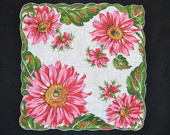 VINTAGE HANKIE, Giant Salmon Red Sunflowers on White Field, Green Leaves Form Contoured Border, Excellent Condition