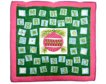 VINTAGE HOLIDAY HANKIE Tammis Keefe Mid-Century Merry Christmas Cutout Letters on Green Fucshia Ornament and Border Excellent Condition