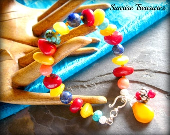 Southwest Bracelet, Amber, Red Coral, Lapis, Pink Coral, Natural Turquoise Bracelet, Semi Precious Gemstone Bracelet, Southwest Jewelry
