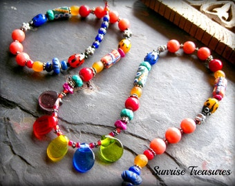 Colorful Glass and Stone Necklace, African Krobo Bead Tribal Necklace, Long Hippie Necklace, Unique Artisan Ethnic Jewelry