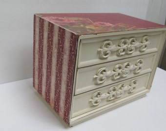 Recycled Mid Century Jewelry Box 3 Drawer Chest Cream & Red Roses Divided Drawers