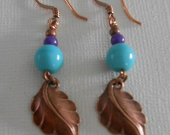 Turquoise glass and copper beaded earrings