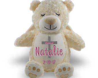 Personalized Stuffed animal, stuffed animal,  1 Day ship,  personalized stuffie  Baptism Bear, baptism gift