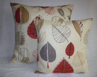 """BIG PAIR Red Gray 22"""" Pillow Designer Cotton Floral Cushion Cover Pillowcases Shams Slips"""