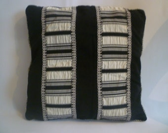 "Black Pillow Cover 18"" White Designer Striped Faux Velvet Cushion Cover- 4 matching Pillow designs available"