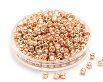 Rose Gold Metallic Beads, Galvanized TOHO Seed Beads, Round 3mm Glass Boho Beads, Japanese Glass Seed Beads, Size 8 x 10g (0017)
