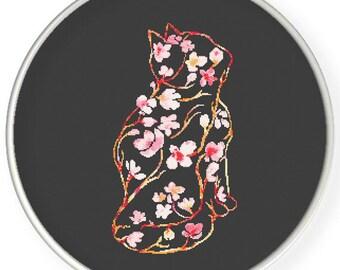 Instant Download, Cross stitch pattern, PDF,flower cat,pillow pattern,zxxc0977