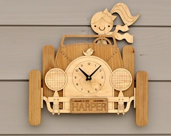 Car Clock Personalized Name Girl or Boy Wooden Car Wall Clock Baby Nursery Travel Theme Kids Room Decor